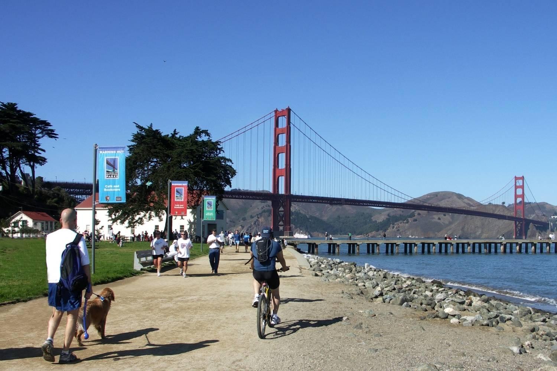 Walking dog near Golden Gate